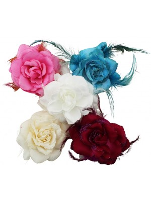 Wholesale Feather Flowers With Elastic & Clip In Assorted Colours
