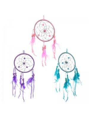 Feather Dreamcatcher With Bright Ribbon - Assorted Colours