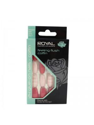 wholesale Royal Cosmetics 24 Glue-On Nail Tips - Feeling Flush Coffin