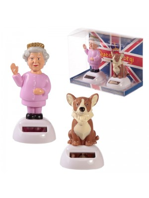 Wholesale Dancing Solar Powered Figurines - Queen & Corgi