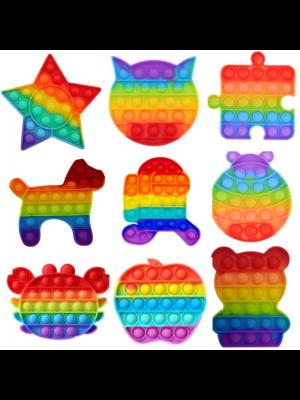 Wholesale Push & Pop Rainbow Bubble Fidget Toys - Assorted Shapes