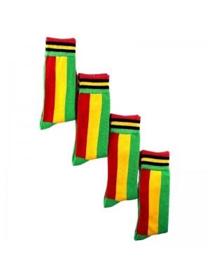Men's Rastafarian Flag Design Long Hose Socks (1 Pair Pack)