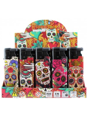 Flamejack Windproof Electronic Refillable Skull & Roses Design Lighter - Assorted