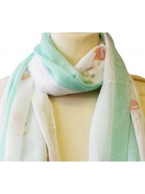 Wholesale Ladies Flamingo Design Cotton With Foil Scarf - Assorted Colours