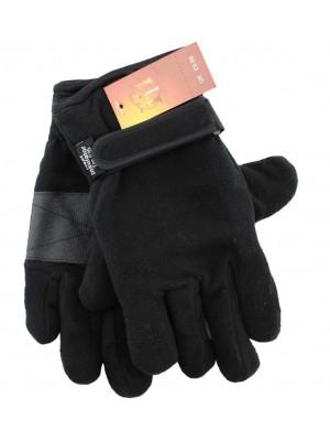 Wholesale Men's Heat Insulator Fleece Gloves - Black
