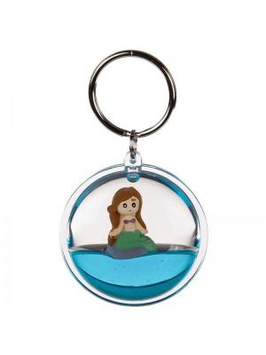 Floating Mermaid Metal Keyring