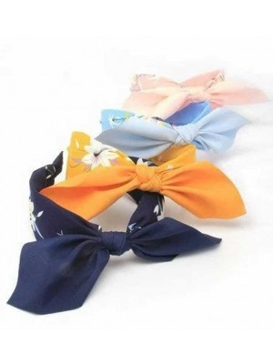 Floral Fabric Aliceband With Tied Bow - Assorted Colours