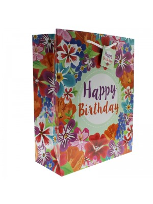 Floral Print Gift Bag - Happy Birthday (26x33x12cm)