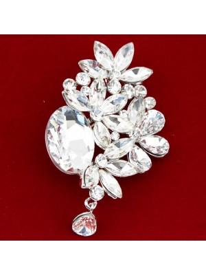 Wholesale Clear Rhinestone Crystal Flower Design Brooch