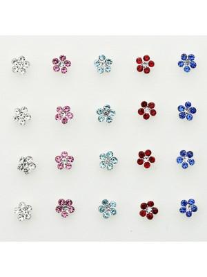 Sterling Silver 3mm Flower Design Nose Wires - Asst. Colours