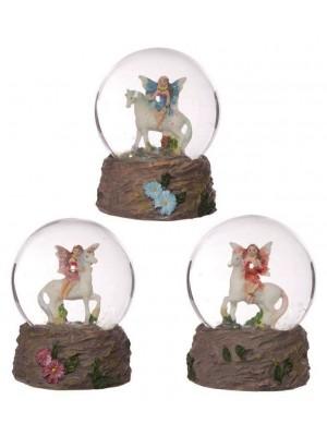 Flower Fairy Riding Unicorn Snow Globe - Assorted