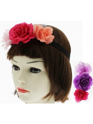 Flower Headbands on Elastic (Assorted Colours)