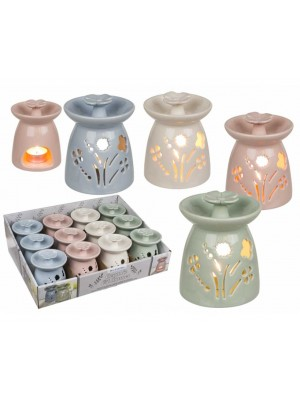 Wholesale Flower Petal Designed Ceramic Oil Burner In Assorted Colours-5cm