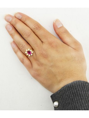 Flower Shaped Gold Rings With Coloured Diamonds - Assorted Colours