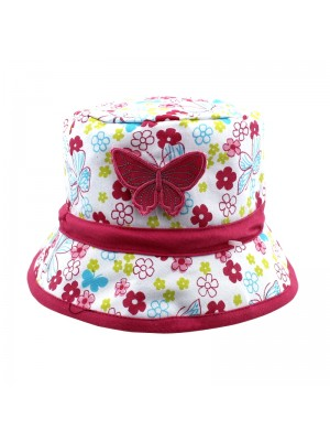 Flower Design Bucket Hat With A Butterfly Badge - Assorted Sizes