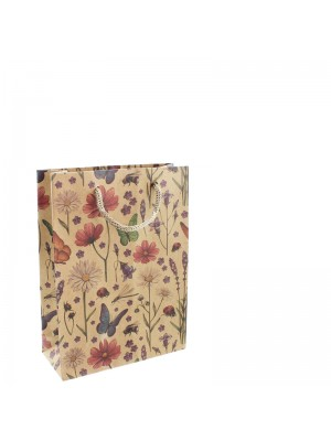 Flowers & Butterfly Design Gift Bags - 10 x 12 x 4cm