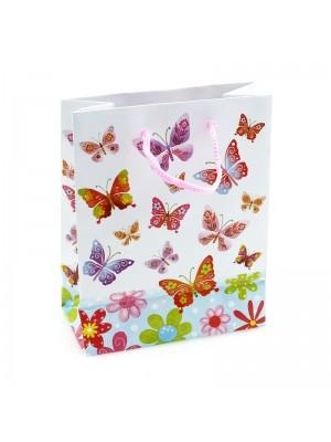 Butterfly Print White Gift Bags - H15cm x W11cm x D6cm