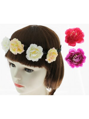 Flowers on Headband - Assorted Colours