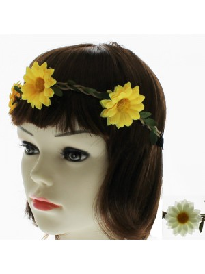 Flowers With Plaited Leaves Elastic Garland Bandeaux Headbands- Assorted