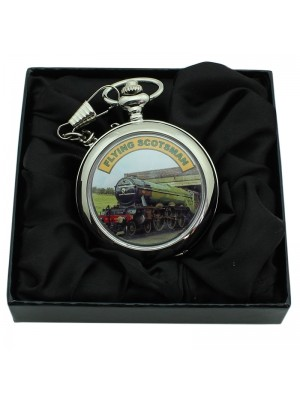 Flying Scotsman Print Pocket Watch with Chain - Silver