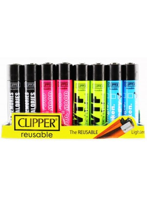 """Clipper Flint Reusable """"Food Quoted"""" Design Lighters - Assorted"""
