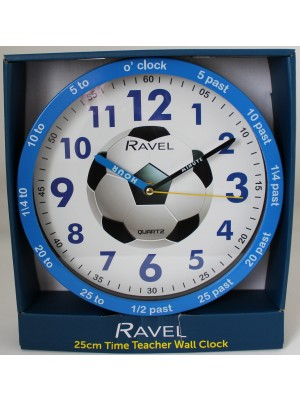 Ravel Children's Football 25cm Time Teacher Quartz Wall Clock - Blue