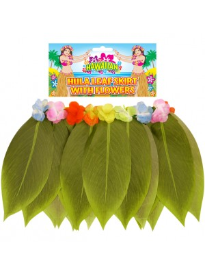 Hula Leaf Skirt With Flower