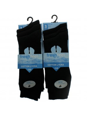 Fresh Feel Ankle High School Socks - Black (4 - 7)