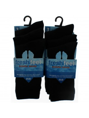 Fresh Feel Ankle High School Socks - Black (UK 9-12)