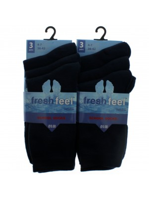 Fresh Feel Ankle High School Socks - Navy (4 - 7)