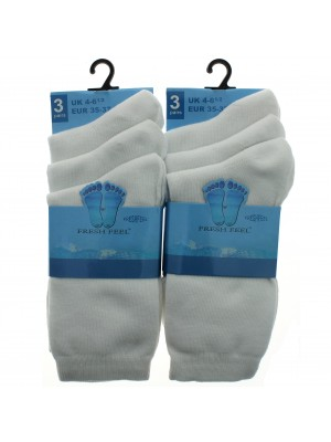 Fresh Feel Ankle High School Socks - White (4 - 6.5)