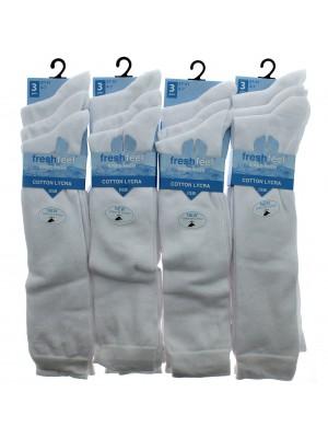 Fresh Feel Knee High School Socks - White (4 - 7)