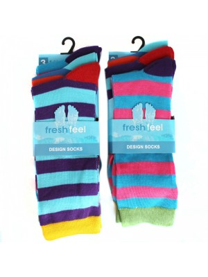Fresh Feel Men's Striped Design Socks - Bright Assorted