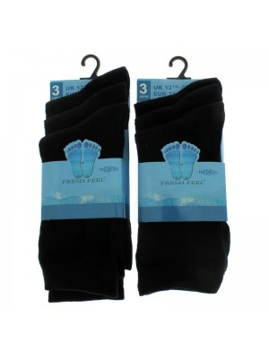 Fresh Feel Ankle High School Socks - Black (12.5 - 3.5)