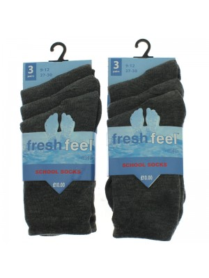 Fresh Feel Ankle High School Socks - Grey (9 - 12)
