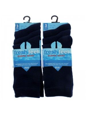 Fresh Feel Ankle High School Socks - Navy (12.5 - 3.5)