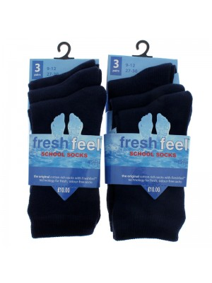 Fresh Feel Ankle High School Socks - Navy (UK 9-12)