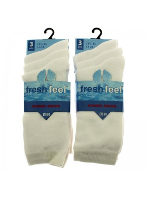 Fresh Feel Ankle High School Socks - White (12.5 - 3.5)