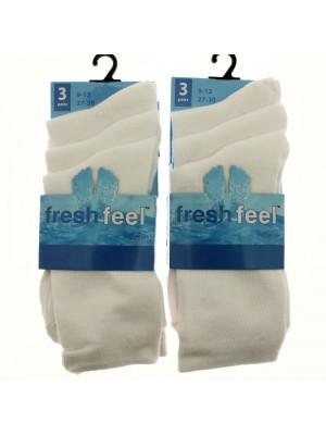 Fresh Feel Ankle High School Socks - White (9-12)