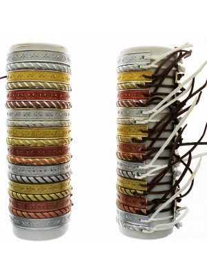 Friendship  Leather Bracelet On The Roll Metallic - Assorted