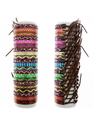 Friendship Leather Bracelet On The Roll Zig Zag Pattern Assorted