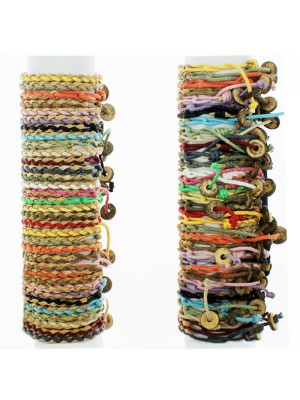 Friendship Bracelet On The Roll Plated With Wood Button