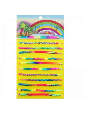 Friendship Cord Bracelet On The Card Assorted Neon Colours