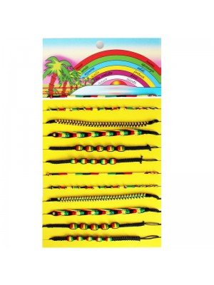 Friendship Cord Bracelet On The Card Assorted Rasta Colours