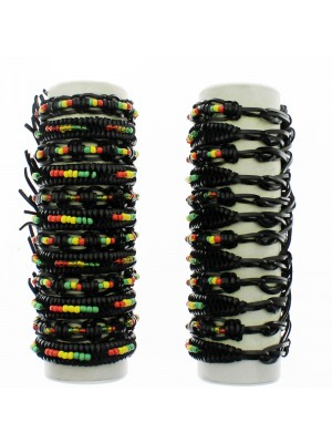 Friendship Leather Bracelet On The Roll Rasta Beads