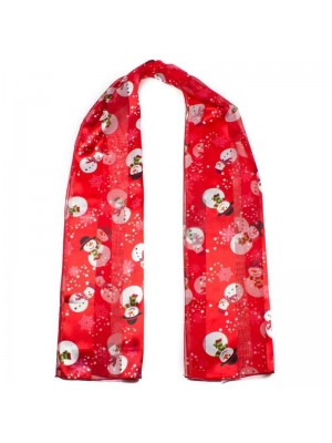 Wholesale Ladies Satin Stripe Snow Man Print Scarf - Red