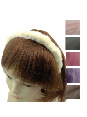 Childrens Faux Fur Headband - Assorted Colours 6 Pack