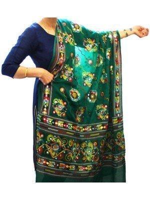 Wholesale Ladies Pure Cotton Aari Embroidery & Foil Mirrors Dupatta - Green