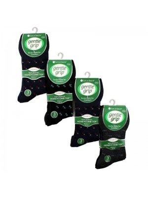 Gentle Grip Bamboo Blend Socks (3 Pair Pack) - Asst