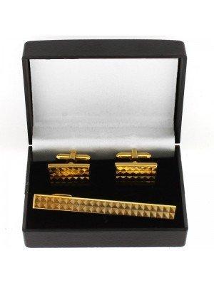 Gents Gold Tie Clip & Cufflinks Set- Diamond Cut Design